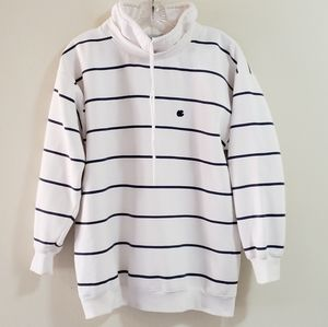 Oleg Cassini Nautical Sweatshirt, White/Navy, Sz M